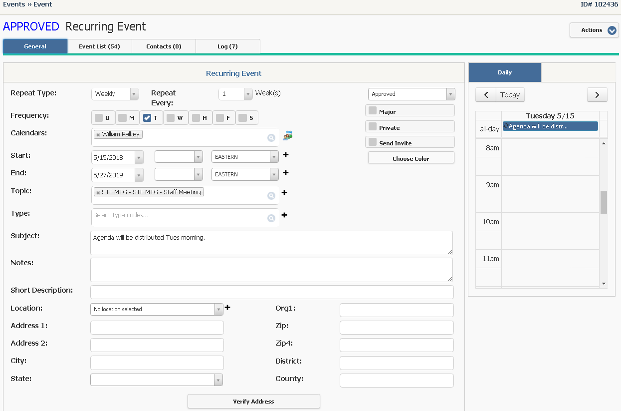 Create a Recurring Event